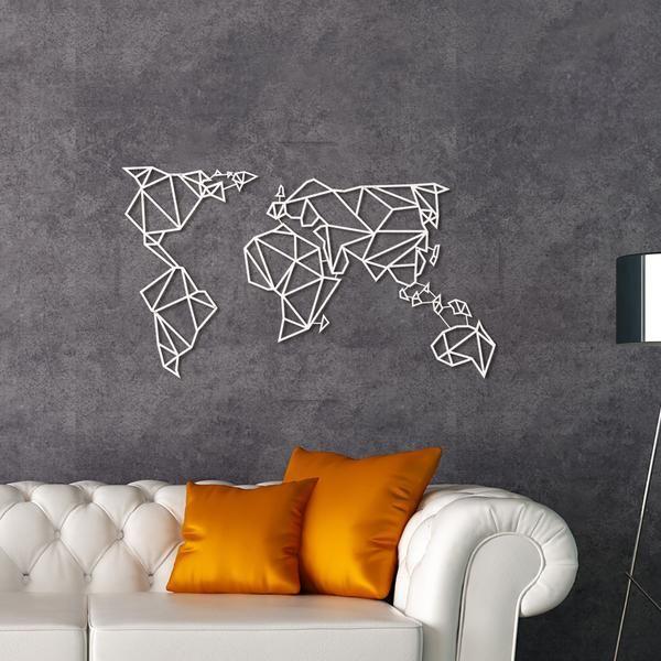 Décoration Murale Métal blanc de la carte du monde ! Disponible sur Artwall and Co ...