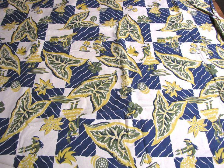 Hawaiian Print Fabric, Hula Girls, Hoffman Fabrics, Cotton Fabric, Vintage fabric, Hawaii, Hawaiian, Crafting, Sewing, 1991, Novelty fabric by JanasTotesandBags on Etsy