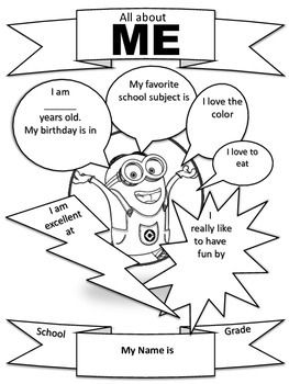 "Get to know your students while they have fun completing and coloring their Minion ""All about Me"" packet."
