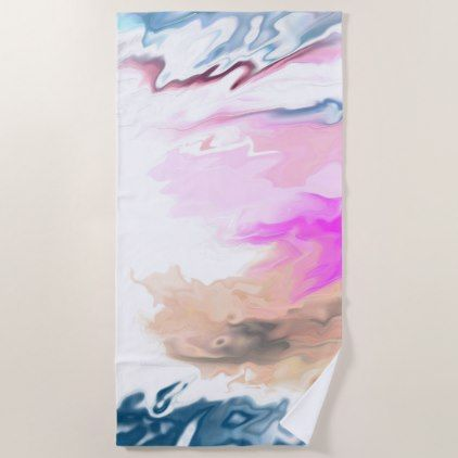Modern Abstract | Beach Towel - black and white gifts unique special b&w style