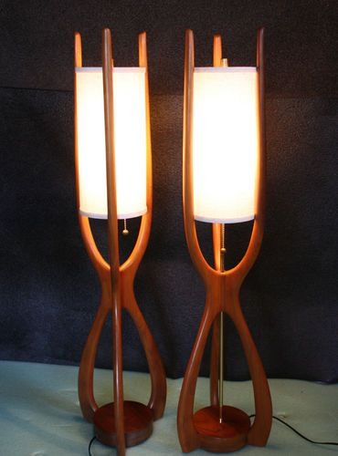 Amazing Sculptural Danish Modern Lamp Pair Teak