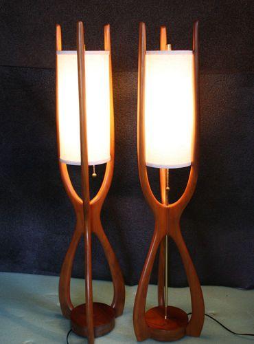 Amazing Sculptural Danish Modern Lamp Pair Teak