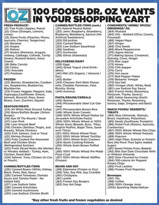 Dr Oz Dr OzHealthiest Food, Food Lists, Health Food, 100 Food, Shops Lists, Healthy Eating, Health Tips, Healthy Food, Grocery Lists