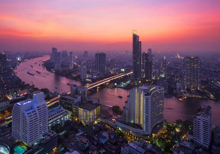 Таиланд Небоскребы Реки Рассветы и закаты Бангкок Мегаполис Города