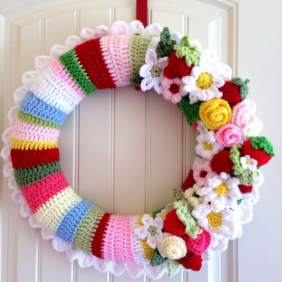 Crocheted Wreath with Strawberries and Daisies by Huckleberry Prairie