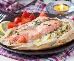 Papillotte de saumon et petits légumes