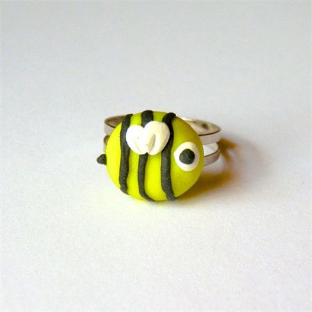Bee Ring: handmade from polymer clay. Available to purchase from Breeze Creations on Madeit