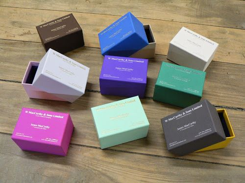 Business Card Boxes in Colorplan made by W MacCarthy & Sons