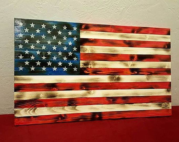 Distressed American Flag On Planked Wood American Flag Wood American Flag Wall Art Wood American Flag Diy