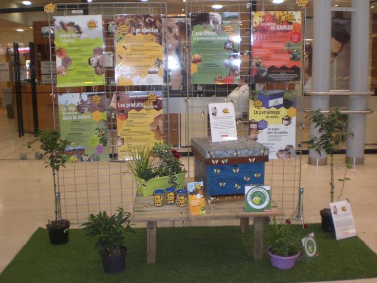 Auchan Mantes La Jolie, parrain de 5 ruches sur son site présente son engagement lors de son salon du développement durable organisé la semaine du 15/04/2013.