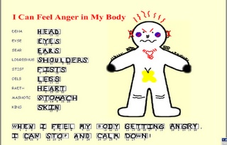 Worksheet to recognize clues from your body that you are getting angry.
