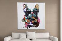 Interior :: Obraz olejny dekoracyjny Bulldog The Boss PopArt 80x80cm (Z30070)