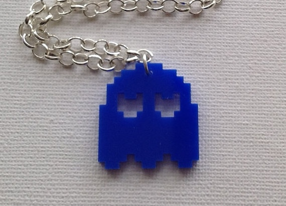Blue Ghost Necklace by Mogglepops on Etsy, €11.99