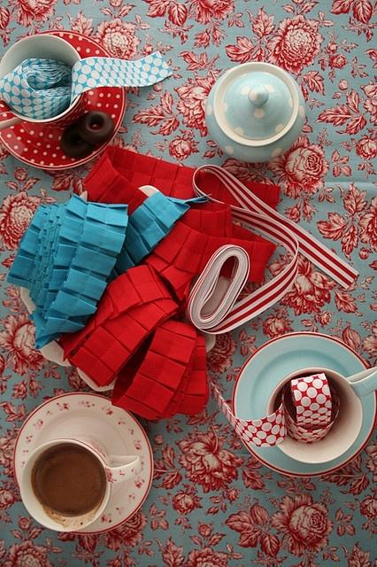 Red and Aqua Tea Party