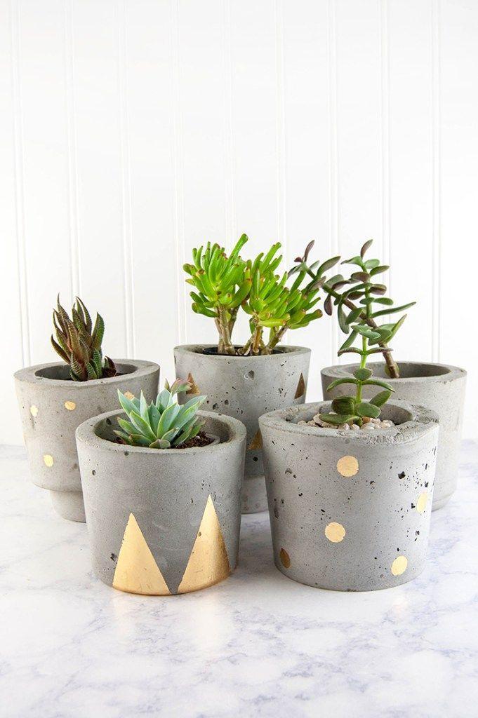 DIY Concrete and Gold Plant Pots Tutorial
