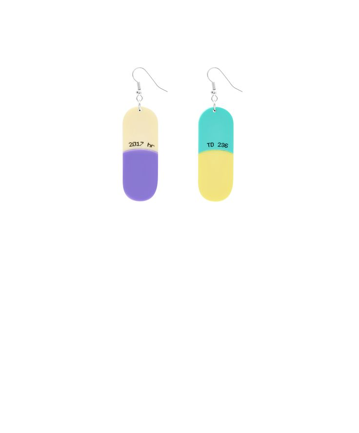 Pill Earrings - Prescribe yourself dose of Tatty Devine with the Pill Earrings. Alluding to the iconic film, Valley of the Dolls, oversized capsules are laser cut in colourful acrylic and hand linked to silver tone hooks. This pair of earrings is part of a numbered edition of 150 and comes with an exclusive certificate of authenticity.