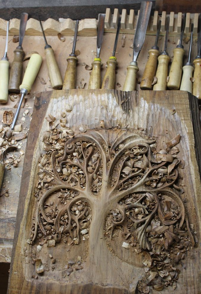 Woodcut tree curvy limbs woodblock relief printing
