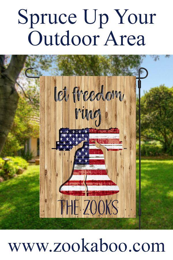 Let Freedom Ring Yard Flag In 2020 Patriotic Garden Flag Garden Flag Holder Garden Flags