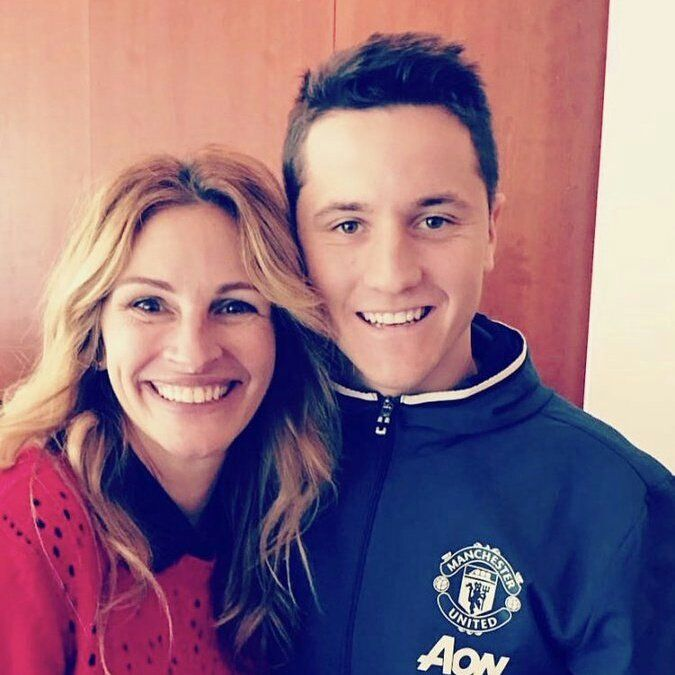 Ander Herrera with a fan.