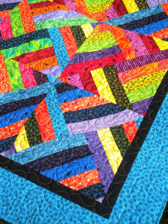 Bright Jewel Tone Quilt 58 X 72 Lap Quilt Sofa By