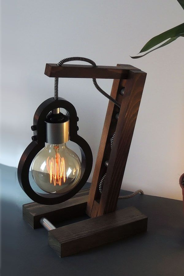Handmade Wooden Desk Lamp With Edison Bulb And Dimmer Switch Wooden Desk Lamp Desk Lamp Wooden Lamp