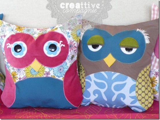 creattive compagnie - cuscini gufo o civetta 1: Cuscini Cuciti, Owl Pillows, Blog Cafè, Baby Owl, Cuscini Gufo, Annadrai Del, Diy Projects, Gufi Owl, Blog