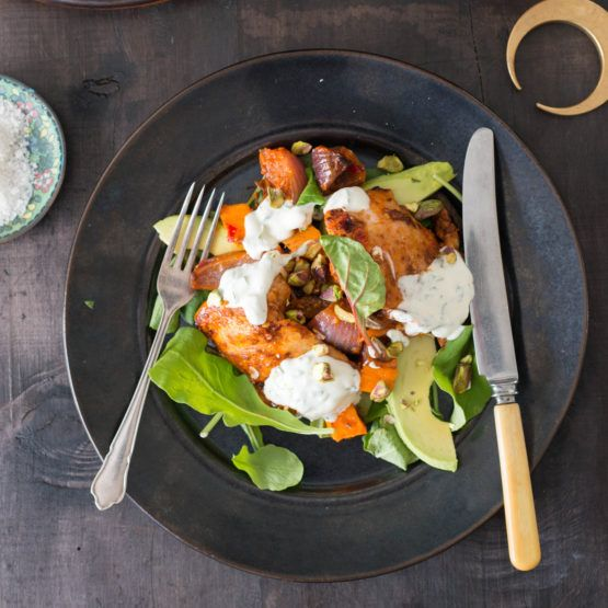 Harissa Chicken, Pumpkin and Avocado Salad with Mint Yoghurt Dressing by Nadia Lim | NadiaLim.com