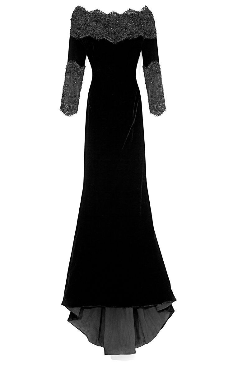 Stretch Velvet Gown With Re-Embroidered Lace Accents by Marchesa for Preorder on Moda Operandi  I feel like this would be a great dress for Morgana...
