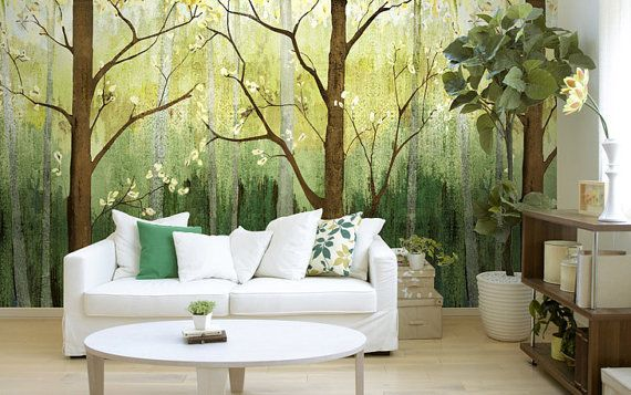 "Spring Forest Wallpaper Dark Green Dreamy Woods Tree Wall Mural Art Oil Painting Effect Fairy Tale Custom Wall Mural Custom 55.5""x32.6"""