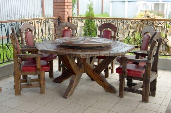 Купить крутящийся стол из массива сосны под старинку.