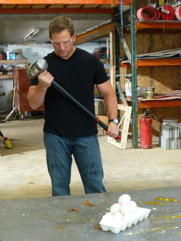 Jason Cameron smashes a dozen eggs with a sledgehammer!