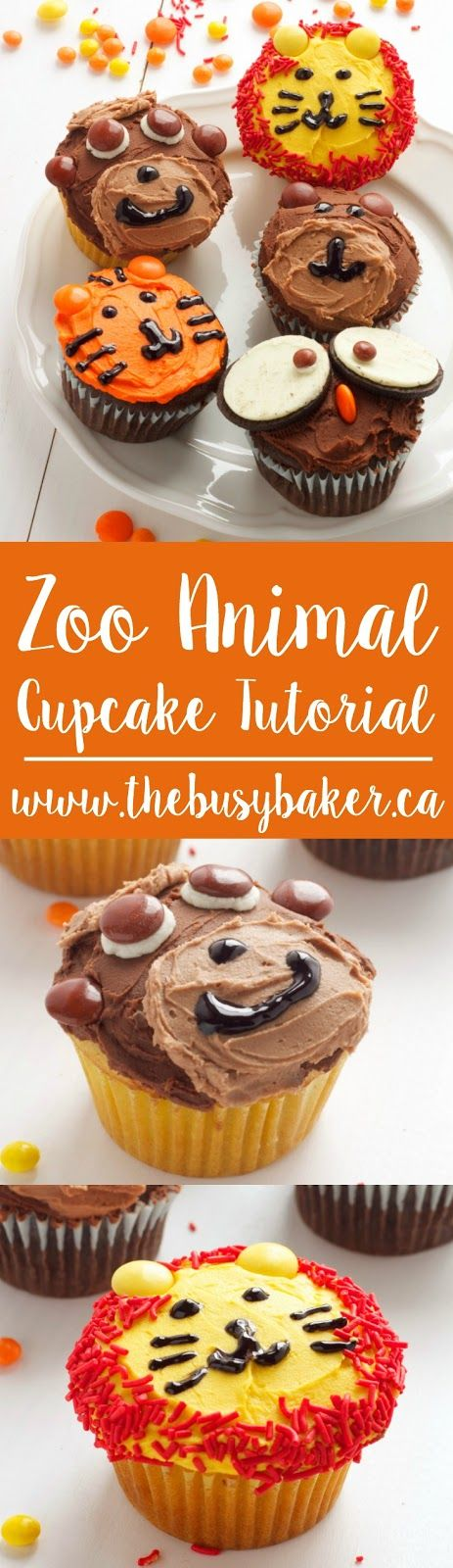 Zoo Animal Cupcakes Tutorial - the perfect cupcakes for a zoo or jungle-themed birthday party! For the recipe and video tutorial visit www.thebusybaker.ca