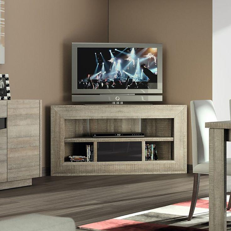 Meuble TV d'angle bois et laqué gris moderne FABIO