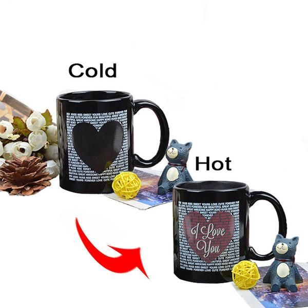 COLOR CHANGING HEAT SENSITIVE I love You - Heart COFFEE MUG