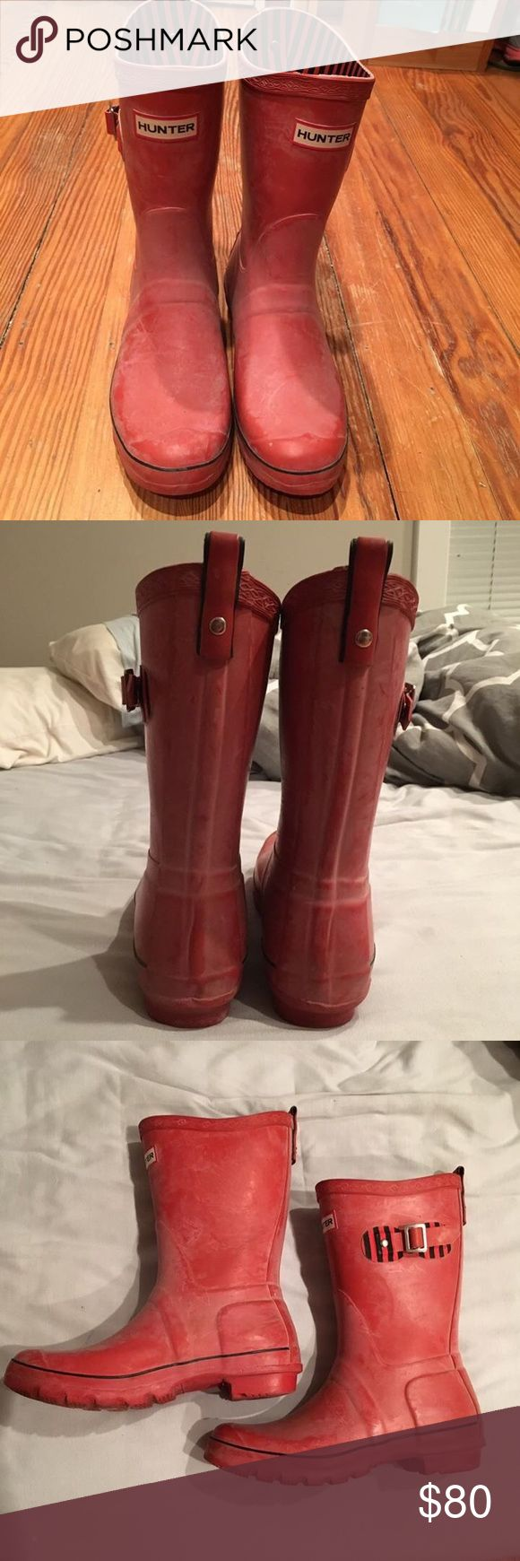 Red Hunter Boots Woman's size 9. Need to be shined up with a little oil. Small scuff marks on inside of the heel, but otherwise gently used. Hunter Boots Shoes Winter & Rain Boots