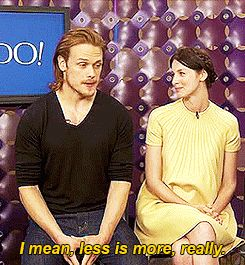 """(gif) - [What is the proper attire under a kilt?]  Sam: """"I mean, less is more, really. It is, yes, absolutely."""""""