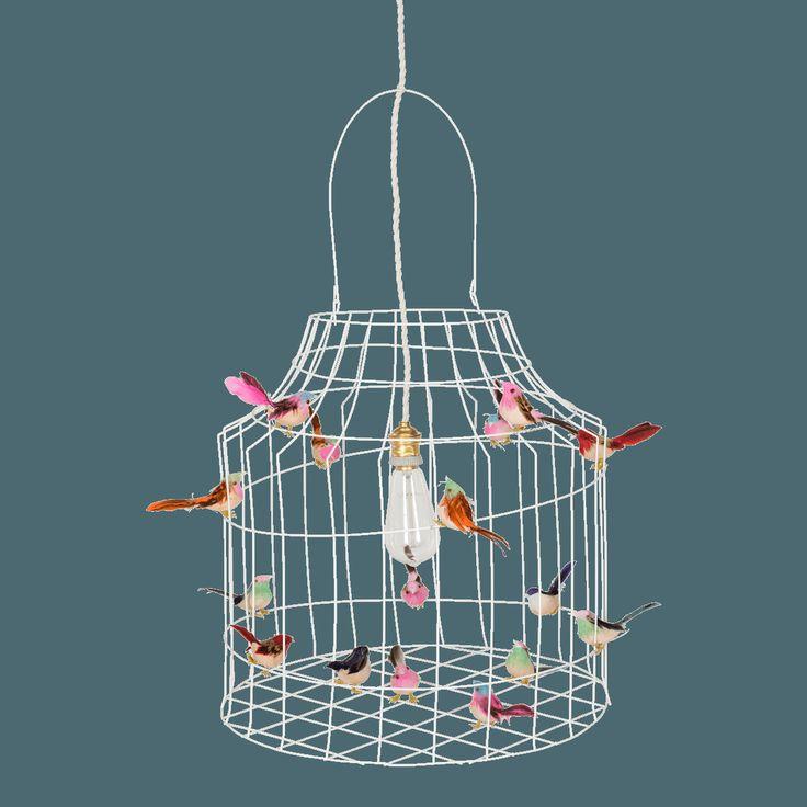 Hanglamp met vogeltjes Hanglamp van wit gelakt ijzerdraad
