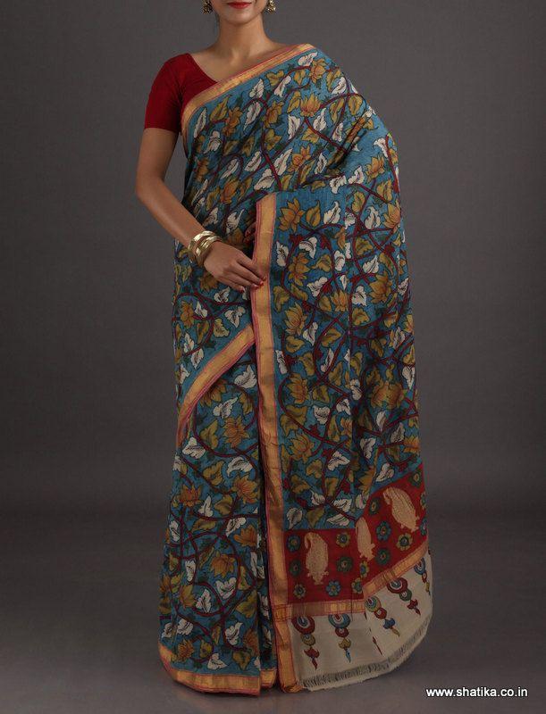 Ritu Blooming Lotus Classic Naturally Dyed Hand-Painted #KalamkariPureSilkSaree