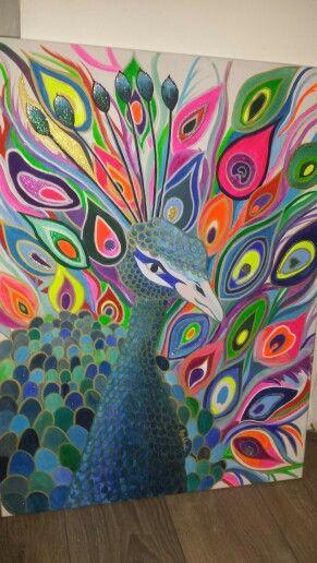 fluro peacock. brightonartbyrachel on fbook