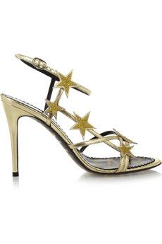 REDValentino Star embellished metallic leather sandals | THE OUTNET