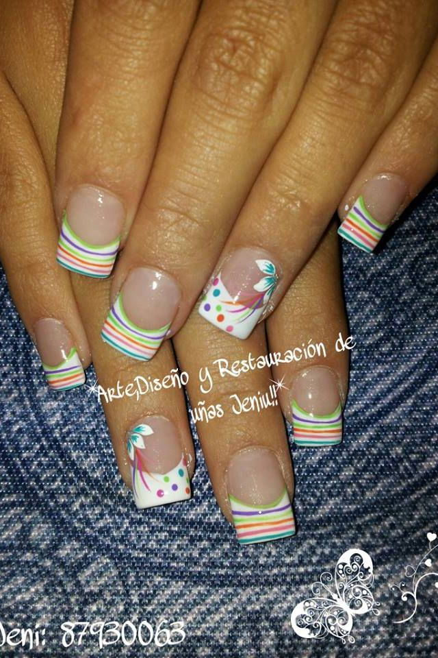 Multicolored stripes over white French tips #dots #lines