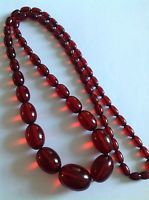 Antique Cherry Amber Opaque Graduated Bead Necklace - 74 Grammes