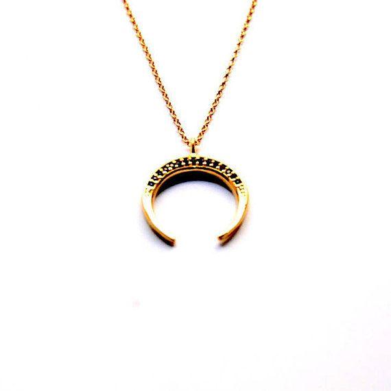 Horn necklace CZ Horn necklace CZ Moon necklace 24k gold