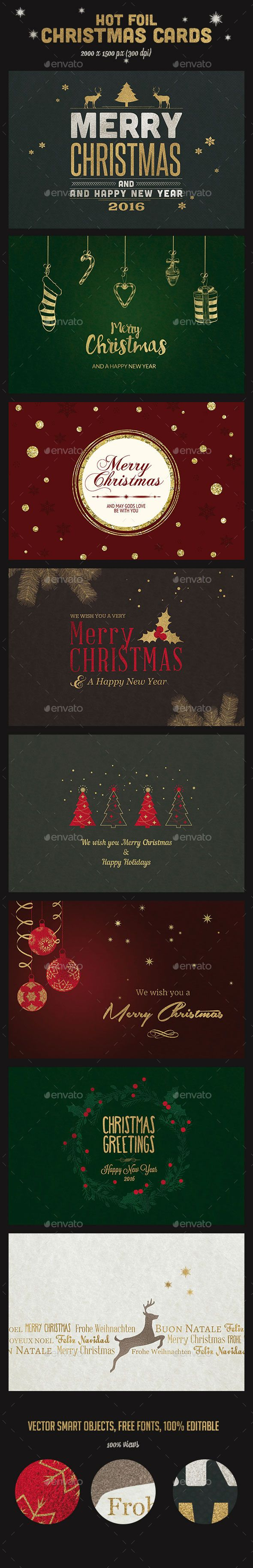 9 Hot Foil Christmas Cards Template PSD #design Download: http://graphicriver.net/item/9-hot-foil-christmas-cards-psd/13429476?ref=ksioks