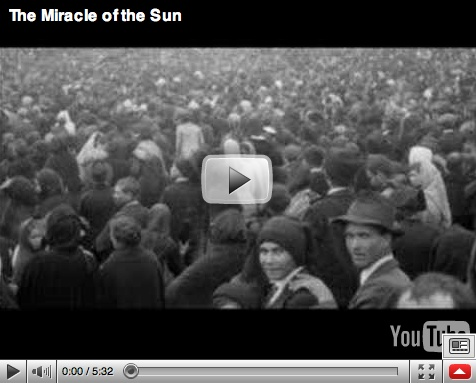 The Miracle of the Sun is a miraculous event witnessed by as many as 100,000 people on 13 October 1917 in the Cova da Iria fields near Fátima, Portugal. Those in attendance had assembled to observe what the Portuguese secular newspapers had been ridiculing for months as the absurd claim of three shepherd children that a miracle was going to occur at high-noon in the Cova da Iria on 13 October 1917.
