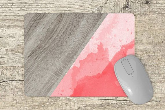 pink watercolor mouse pad  pink wood print