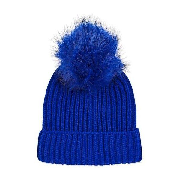 Topshop Bright Blue Tonal Pom Beanie Hat found on Polyvore featuring accessories, hats, beanie, topshop, pompom hat, topshop beanie, beanie cap hat, topshop hats and beanie hat