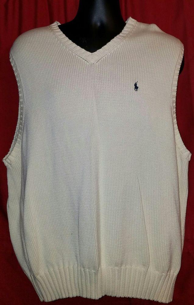 Men's Ralph Lauren Polo Sleeveless Beige V Neck XL Vest Golf Sweater 100% Cotton #RalphLauren #VNeck
