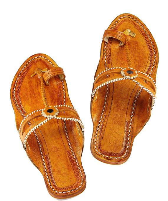 Double eye, dark yelow handmade leather sandal for women DLC1009