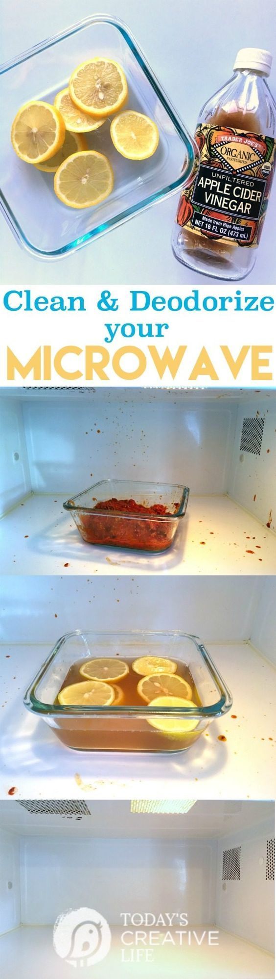 How to Clean and Deodorize A Microwave | This cleaning method is non-toxic using ACV, lemons and water. Let the steam do the work! See more tips on TodaysCreativeLif...